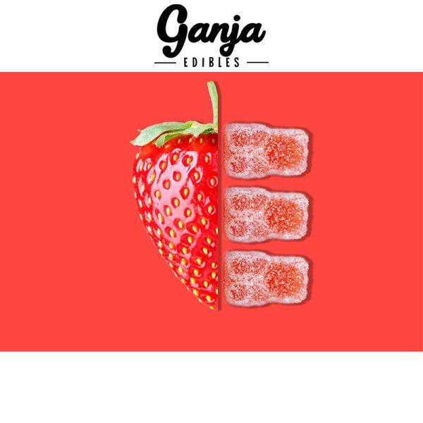 Buy Ganja Edibles – Sour Strawberry Gummy Bears 150MG online Canada